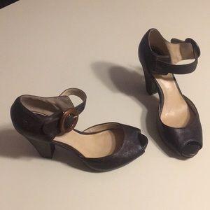 Frye dark brown heels (sz 37.5 & 7.5)